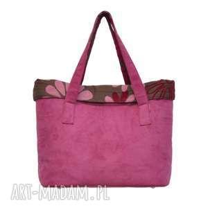 do ręki 15-0003 różowa torba damska shopper bag - na co dzień woodpecker