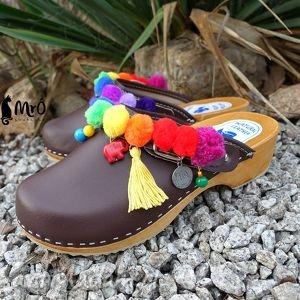 hand-made buty niepowtarzalne tęczowe boho chodaki