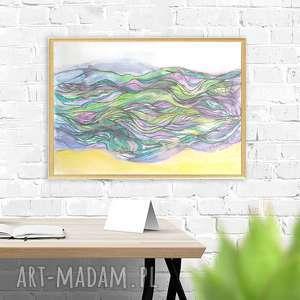 Oprawiony rysunek morze, morze obraz w ramce, grafika, nowoczesny