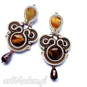 Długie Kolczyki Sutasz Tygrysie Oko i Masa perłowa w brązie, kremie srebrze, filc