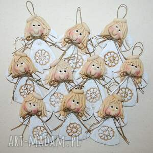 dekoracje małe siostrzyczki - aniołki z masy solnej, anioły, masa solna, komunia