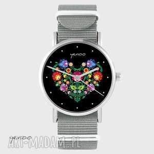 zegarki zegarek - serce folkowe, czarne szary, nato, zegarek, bransoletka