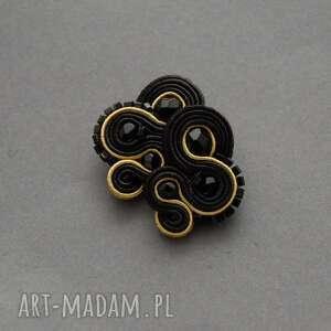 klipsy czarno-złote sutasz, sznurek, delikatne, wieczorowe, koraliki