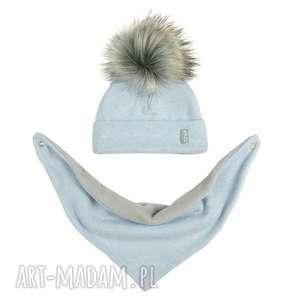 komplet zimowy - czapka z pomponem chusta podszyty polarem - kolor błękitny jasno