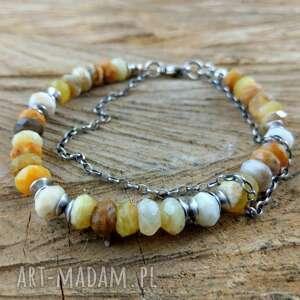 handmade opal żółty bransoleta