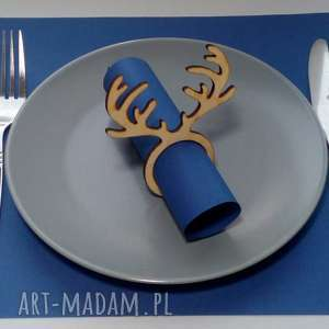 dom zestaw 6 sztuk, świąteczne obrączki na serwetki, renifer, święta