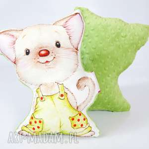 przytulanka kotek minky - w zielonych spodenkach, minky, przytulanka, zabawka dla