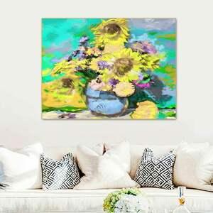 Kwiaty słoneczniki obraz na płótnie 120 x 90 cm renata bulkszas
