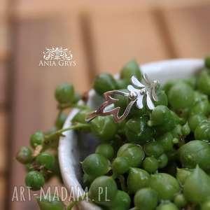 Pierścionek florystyczny, pierścionek, kwiaty, rośliny, ażurowy, srebrny, gwiazdoo