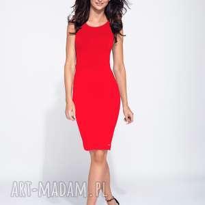 sukienki czerwona sukienka ołówkowa na ramiączkach, ołówkowa, basic
