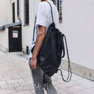 handmade na ramię torba worek czarny 2w1