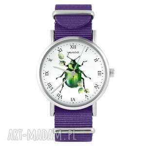 yenoo zegarek - zielony żuczek fioletowy, nylonowy, zegarek, nylonowy pasek