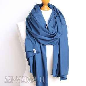 hand made szaliki szal szalik chusta bawełniany w kolorze niebieskim, modny - pracownia