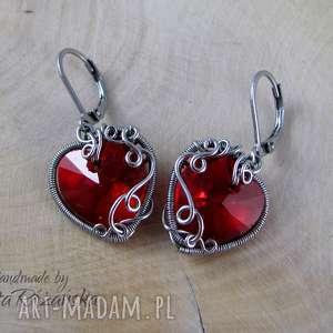 Kolczyki Swarovski Xilion Heart LIght Siam, wire wrapping, kolczyki, serce