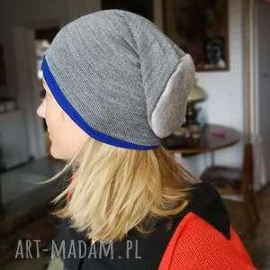 Czapka zimowa dzianina wełna sportowa szara damska czapki ruda