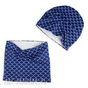 zestaw dla dziecka niebieski czapka komin dwstronny - dziecko, zestaw, czapka, komin
