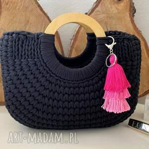 fabryqaprzytulanek damska torba typu koszyk czarna, szydełkowa torebka, torebka