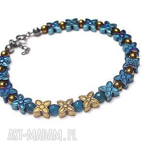 Cobalt / flower/ - bransoletka, srebro, oksydowane, hematyty, jadeity, kwiaty