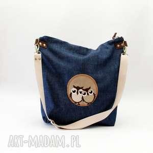 ręcznie wykonane torebki sowy jeans