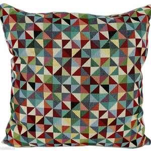 Poduszka dekoracyjna, geometryczna, wielokolorowa, vintage