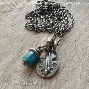 naszyjniki dla artystycznej duszy naszyjnik z apatytu i srebra, apatyt, srebro