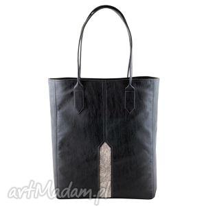 handmade na ramię pillar - duża torba shopper czerń i nakrapiana biel