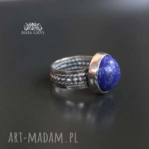 lapis w srebrnych objęciach, lazuli, pierścionek, oksydowany, boho