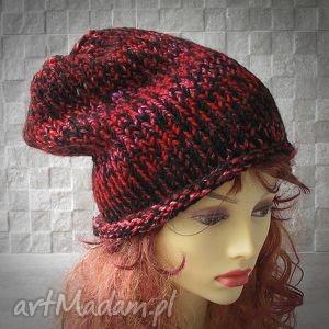 gruba ciepła czapa ręcznie robiona oversized - czapka, gruba, ciepła, zima