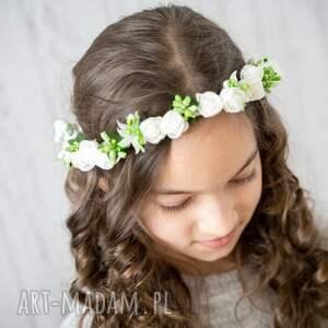 hand-made ozdoby do włosów wianuszek komunijny delikatny biało - zielony
