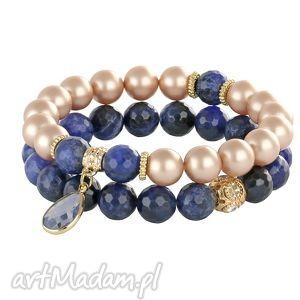 pearly chic - almond & navy blue - kryształek, perły, swarovski