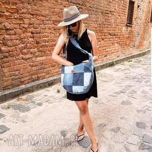 na ramię dżinsowa torba hobo patchwork mała denimlove, dżinsowa, torebka
