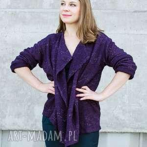 handmade swetry ażurowy fioletowy sweter ze zlotą nitką