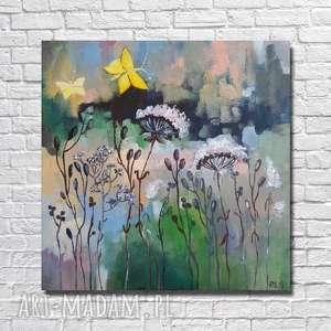 ŁĄKA Z ŻÓŁTYMI MOTYLAMI -obraz akrylowy formatu 30/30 cm, motyle, obraz, łąka, akryl