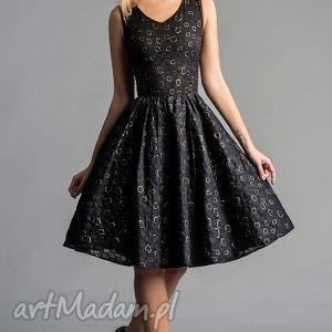 sukienka gina marszczona midi ligia, sukienka, złoto, błyszcząca, wieczorowa
