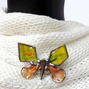 ręcznie wykonane broszki broszka: wesoły motyl malowany