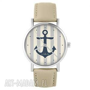 zegarek - kotwica skórzany, beżowy, zegarek, pasek, marynarski