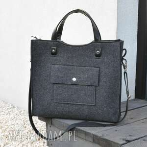 perfekcyjna filcowa torba - skórzane rączki grafitowa do biura, torebka