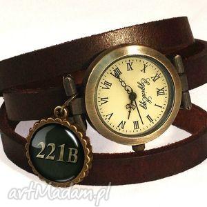 hand-made zegarki 221b - zegarek / bransoletka na skórzanym pasku