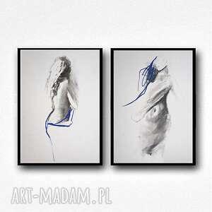 świąteczny prezent, z kobaltem, grafika niebieska, czarno biała grafika, obraz