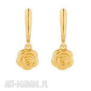złote kolczyki z różami, róże, pozłacane