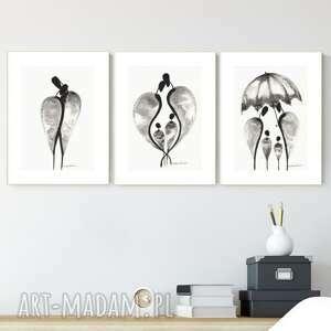 zestaw 3 grafik a4 wykonanych ręcznie, grafika czarno-biała, abstrakcja, 2696729