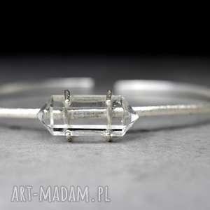 925 kryształ górski srebrna bransoletka, minerał, kamień