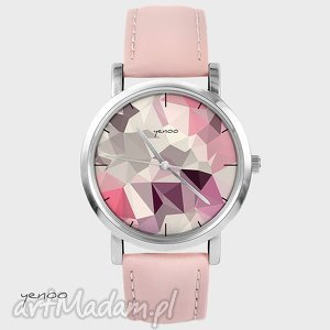 zegarki zegarek, bransoletka - geometric pudrowy róż, skórzany, zegarek