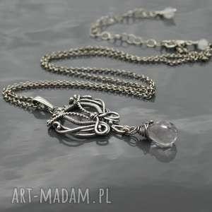 Srebrny wisiorek z kwarcem różowym, srebro, wisiorek, wire, wrapping, kwarc, różowy