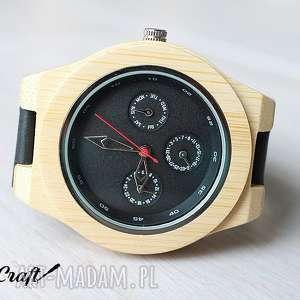 hand made zegarki drewniany, bambusowy zegarek z datownikiem seiko