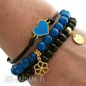 dark blue agate black crystals & strap - kryształek, kwiatek, serce