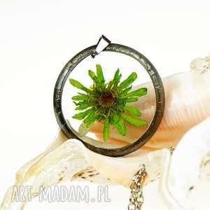 naszyjnik z prawdziwym kwiatem z1271 - naszyjnik z kwiatem, biżuteria z żywicy, z