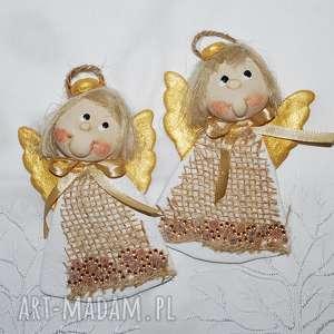 święta prezenty Choinkowe siostry - aniołki z masy solnej , anioły, dekoracja