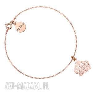 Bransoletka z różowego złota z koroną - ,bransoletka,różowe,złoto,modowa,korona,trendy,