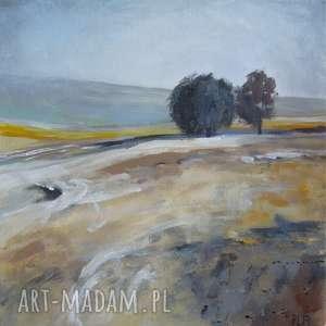 Obraz na płótnie - Pejzaż zimowy format 25/25 cm, pejzaż, czarny, brąz, szary
